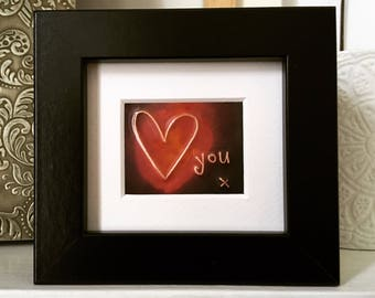 Love (heart) you    x    -framed in copper