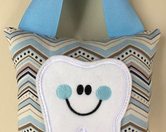 Tooth Fairy Pillow - Light Blue and Gray Chevron Pillow with Light Blue Ribbon - Kids Pillow - Kids Gift