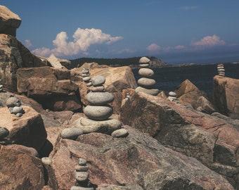 Mount Desert Island Cairns, Acadia National Park, Maine, Maine Coast, Rocks, Fine Art Photography, Wall Art, Stones