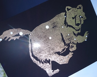 Ursa Major, the Great Bear Shadow Zodiac Constellations Greek Illustrations Hand Embossed & Hammered Greeting Art Card Celestial Collection