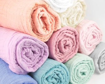 """Single Muslin Baby Swaddle Blankets in solid colors - made from 100% cotton double gauze fabric - approximately 45"""" square"""