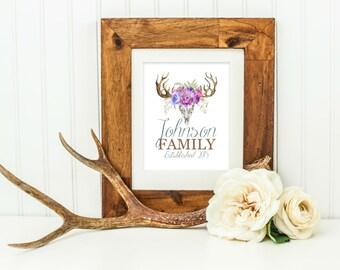 Deer Skull Art - Rustic Wedding Gift - Custom Name Print - Personalized Wedding Gift - Bridal Shower Gift - Antlers and Flowers