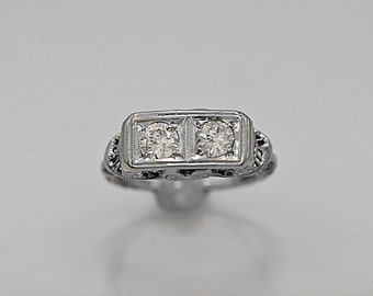Antique .66ct. T.W. Diamond & White Gold Engagement Ring Art Deco - J36218