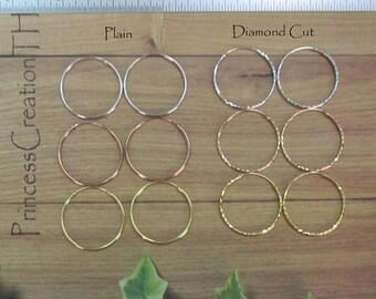 30mm Sterling Silver Hoop Earring - Endless Hoop Earring - Plain and Diamond Cut Hoop - Rose Gold Hoop - Yellow Gold Hoop  PCH10