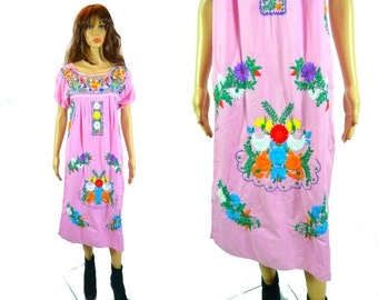 Vintage Pink Embroidered Dress Kaftan Caftan Tent Maxi Festival Ethnic Vintage Mexican Latina Embroidery Pink Short Sleeve Cotton Oaxacan