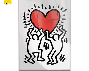 Plexiglass square Prints on acrylic glass-Keith Haring-HEART-Yellow BUS