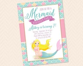 Pastel Mermaid Birthday Party Invitation Design
