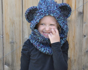 Crochet baby, toddler or kids hooded bear cowl