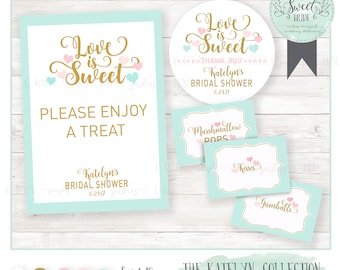 dessert table package with SIGN, LABELS and STICKERS. Color of choice. kATELYN Collection gold mint pink. Baby or Bridal shower