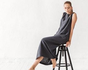 Linen dress, Graphite grey linen dress, Dress with pockets, Long dress, Linen tunic, Minimal linen tunic, Stone washed, Linen clothes