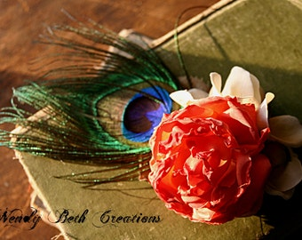 Orange Cream Hair Clip Fascinator - ATS, Tribal, Belly Dance, Wedding, Fairy, Peacock Feather, Rose