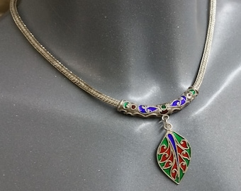 925 Silver glass inlay snake chain necklace SK500