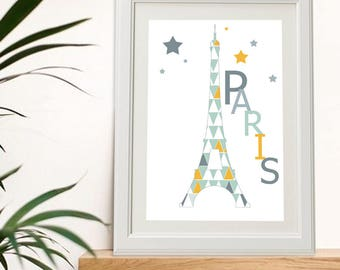 poster of Paris with eiffel tower, french touch design! France, print, wall art décor, home decor