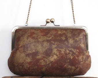 Clutch bag, brown leather purse, silk-lined, handbag with chain handle