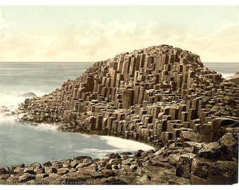 The Honeycombs, Giant's Causeway. County Antrim, Ireland] 1890. Vintage photo postcard reprint 8x10-up. Northern Ireland County Antrim