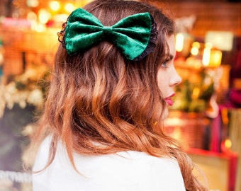 Bottle Green Velvet Hair Bow, Velvet Hair Clip, Fall Romantic Hair Accessory