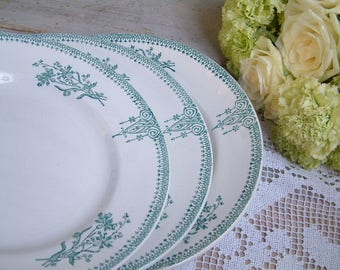 Set of 4 Antique french green transferware plates. Art Nouveau. Antique french transferware. Emerald Green transferware.