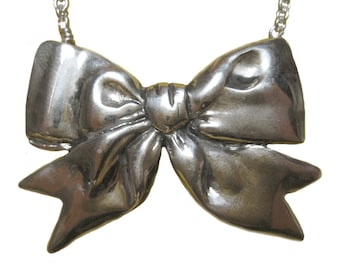 Bow Necklace     ribbon silver gold jewelry