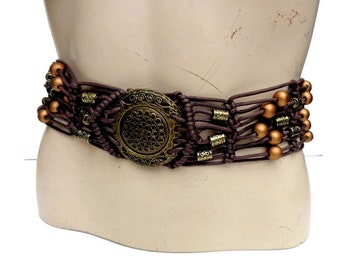 Vintage gold  beaded belt, boho belt, hippie, festival belt, ethnic belt, tribal belt