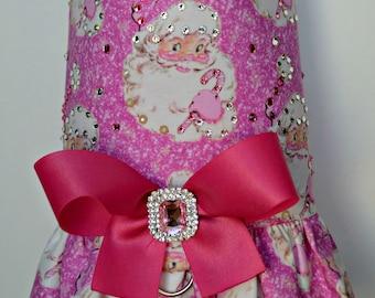 Dog Harness Vest - Christmas Hot Pink Santa Dog Harness