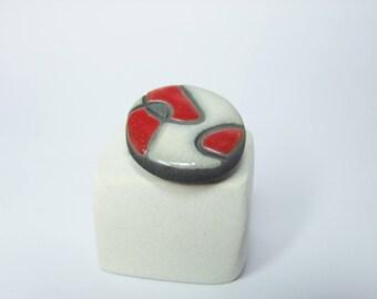 Ring white and Red raku pottery