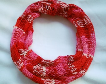 Red Knit Cowl Scarf, Knit Infinity Scarf, Women, Lightweight Accessory in Bamboo Yarn, Handmade Spring Scarf, Ready to Ship