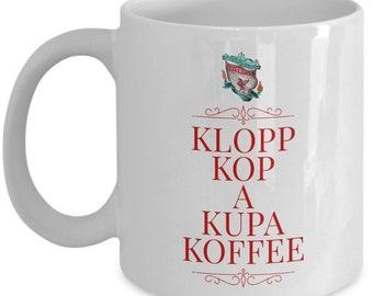 Funny Liverpool football mug, Klopp Kop a Kupa Koffee, ceramic coffee cup