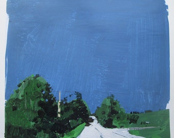 White Road, Original Landscape Collage Painting on Paper, Stooshinoff