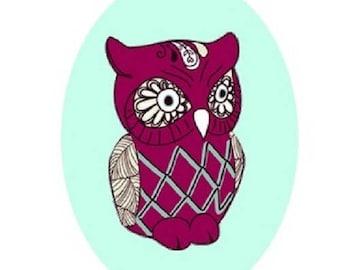18x25mm purple owl (green)