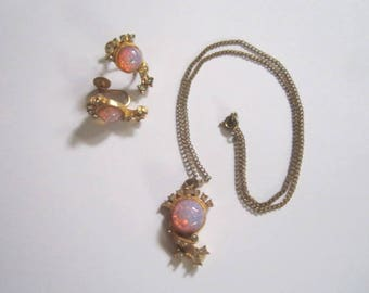 Vintage 1930s Faux Opal Glass Rhinestone Necklace and Screw Back Earrings