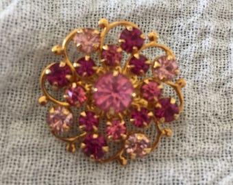 Pretty Vintage Pink & Red Rhinestone Brooch