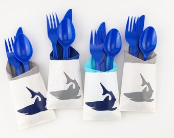 Shark Party Cutlery - Shark Party Supplies, Shark Birthday, Shark Party Favors, Surfing Birthday, Beach Party, Surfing Party, Pool Party
