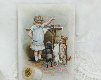 Trade Card, Little Girl with Dogs, J&P Coats Thread