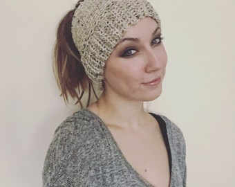 Oatmeal Crochet Ponytail Messy Bun Hat
