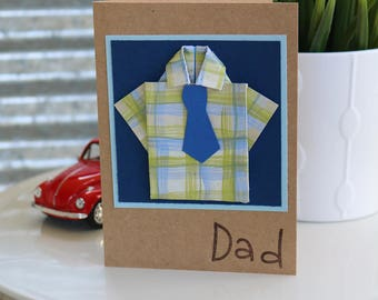 Happy Father's Day Card, Dad Card, Origami Shirt Card