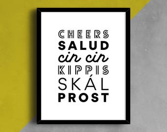 Cheers Language Print, Cheers Poster, Language Wall Art, Typography Print, Language Print, World Languages, Type Art