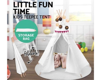 NEW Premium 6 Pole White Canvas Teepee Tent With Storage Bag