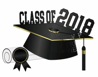 class of 2018 clip art more colors green gold graduation rh etsy com graduation clipart 2018 graduation clipart pictures