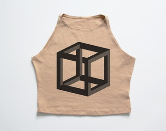 CUBE | Nude high neck crop top