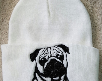 Pug Embroidered Knit hat