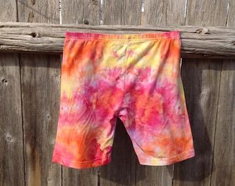 "ON SALE: Women's Shorts, Size Medium, Hips 38""-40"", Tie Dye, Cotton Spandex, Boy Shorts, Yoga Shirts,  Bike Shorts, Orange, Yellow & Pink"