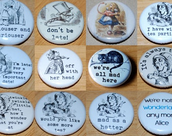 Alice in Wonderland Pictures Button badge 25mm / 1 inch Mad Hatter Lewis Carroll Cheshire Cat