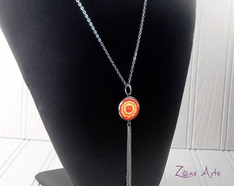 "Root Chakra Necklace, Red Chakra, Chain Stainless 24"" (60cm), Tassel 3"" (7.2 cm), Heart-shaped Pendants, Original Drawing Chakra Mandala"