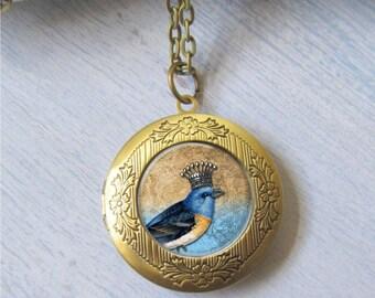 Locket, Bird Necklace, Bird Locket, Crown Bird Pendant, Photo Necklace, Gold Locket