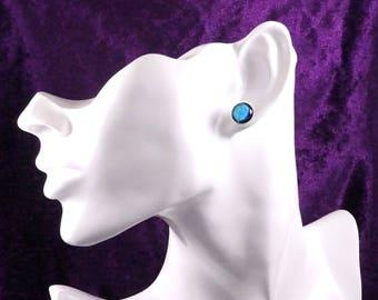 Blue Glass Stud Earrings - Surgical Steel Earrings