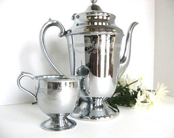 Vintage Coffee Pot and Creamer - Chrome for Those Who Hate Tarnish