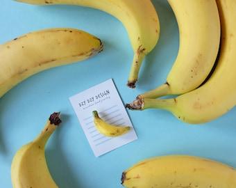 Banana Fruit Brooch from polymer clay, Tutti Frutti, Botanical jewelry, Andy Warhol banana pin, Summer brooch, tropical jewelry