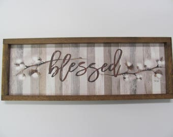 """Cotton, Blessed,Cotton Stems,Rustic Shadowbox Frame,9""""x 25"""",Marla Rae,Wooden Art Sign"""