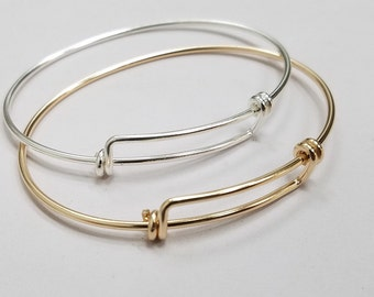 Sterling Silver Or Gold Filled Adjustable Bangle, Larger Size, 8 inches to 9.5 inches