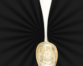 Brigham & Eager, sterling spoon engraved with Brigham crest